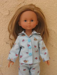 Make doll clothes with velcro closures, but sew on buttons for a cute look.
