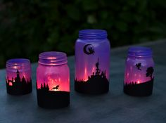 Sep 2017 - Turn mason jars into a set of fairy-tale lanterns with silhouettes of fairies and unicorns! Three years ago, I made sets of both Halloween and Christmas lanterns. We have enjoyed them for a while, and have since made Mason Jar Projects, Mason Jar Crafts, Mason Jar Diy, Bottle Crafts, Halloween Mason Jars, Diy Projects, Mason Jar Lanterns, Mason Jar Flowers, Mason Jar Lighting