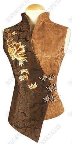 $168 Form fitting, with a wonderful design and feel makes this Peony Embroidered Silk Crepe Blouse a...: