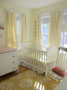 A Buttercream Yellow Nursery in Boston Benjamin Moore: Milky Way. A Buttercream Yellow Nursery in Nursery Curtains, Nursery Room, Girl Nursery, Princess Nursery, Cream Nursery, Baby Nursery Neutral, Gray Yellow Nursery, Baby Room Boy, Girl Room