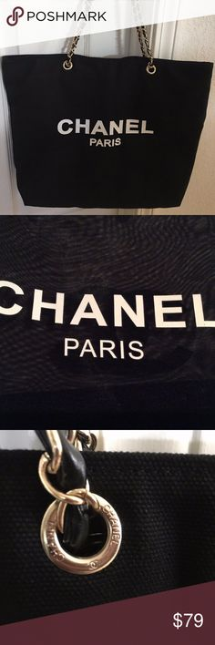 """Chanel vip Gift bag canvas tote bag Shopper bag Authentic Brand new Chanel VIP Black Canvas Tote with Gold Chain. Bag measures 15""""L and 16.5 W - has Chanel logo on both sides with a snap closure. Great every day tote. Chanel VIP items does not come with authenticity cards or hologram stickers. Brand New Come with original packaging. CHANEL Bags Totes"""