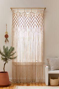 Bamboo Beaded Curtains, Bohemian Curtains, Macrame Curtain, Diy Curtains, Patterned Curtains, Bohemian Shower Curtain, Curtain Patterns, Window Panels, Window Hanging