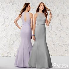 Exude elegance in this beautiful Style M1812.Chiffon fit and flare bridesmaid gown with halter scoop neck, keyhole back, satin belt, and back zipper. Available in lilac and platinum. #bridesmaids #weddinginspiration #bridalparty #wedding #weddingplanning  #glam #bridalglam #spring2016 #weddingcolors #weddingtheme #details #ss16 #platinum #lilac #marysbridal #boda #damas