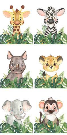 Jungle Theme Birthday, 1st Boy Birthday, Jungle Animals, Baby Animals, Baby Boys, Baby Animal Drawings, Baby Posters, Baby Painting, Baby Nursery Decor
