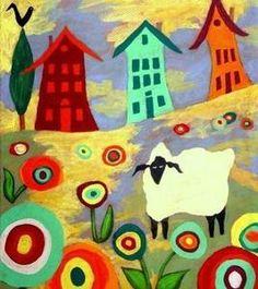 Sheep Flower Town ~ John Blake Folk Artist