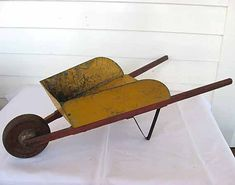 1940 Vintage Child Size Tin And Wooden Wheelbarrow In Timeworn Yellow And Red…