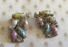 Vintage Mottled Stone Climber Clip Earrings Marked Pat Pend | eBay