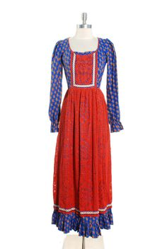 1970s Red Crochet Paisley Printed Maxi Dress by LaBombaVintage, $65.00