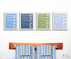 Kids bathroom decor. Bathroom art, bathroom prints, Bathroom rules, brush your teeth. Wash floss brush flush. 4-11x14 prints by WallFry