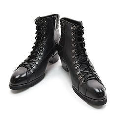 (CHSH015-BLACK) Side Zipper Military Leather Boots