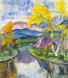 """terminusantequem: """"Béla Erdélyi (Hungarian, 1891-1955), River-bank. Oil on canvas, 92 x 79,5 cm """""""