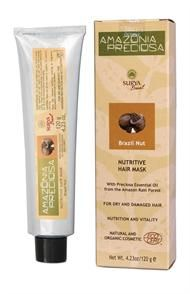 Brazil Nut Hair Mask for dry hair. Strengthens and reconstructs hair from the roots to the ends. Rich in Vitamins E, B1, B3, B6, Omega-3, copper and zinc. Hypoallergenic and Dermatologically tested.