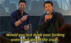 Misha and Jensen. Jensen's reaction is priceless!