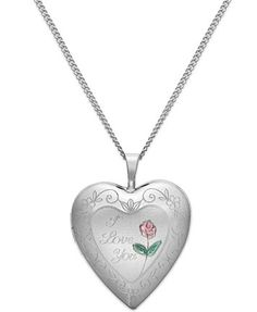 I Love You Heart Locket Necklace in Sterling Silver | macys.com