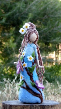 Made to order  Needle felted Waldorf inspired art doll, tall about 9. She is full of love, happiness and silence, bringing a nature to her new house. She can make someone happy as a present, be a nice home decoration or a part of your nature table.  Thank you for visiting my shop