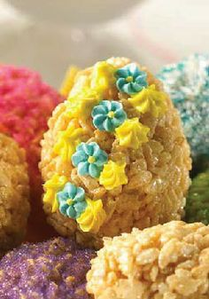 Rice Krispies Easter Egg Treats -- The decorating possibilities are endless with these treats. Get creative with frosting, food coloring and candy - no two treats will end up alike!