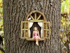 Fairy Garden Accessories Window with sitting girl and bird - miniature garden accessory - window for tree - fairy door window - Gardening Daily Fairy Garden Houses, Garden Art, Fairies Garden, Fairy Gardening, Hydroponic Gardening, Indoor Gardening, Sitting Girl, Fairy Tree, Fairy Doors On Trees