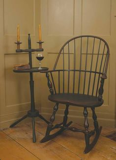 Windsor rocker and candle stand.