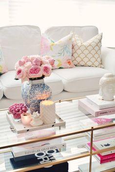 Spring Decor with Garden roses and floral pillows