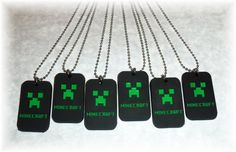 Set of 6 - Minecraft Creeper Rubber Charm Necklace Necklaces - Birthday Party Favors - Great Gift Idea