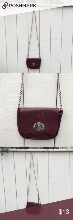 Burgundy quilted leather crossbody ✨ Gorgeous burgundy quilted leather crossbody bag ✨ perfect for stashing the essentials, this never been worn beauty features a delicate metal over-the-shoulder chain, black zipper pocket, and silver clasp. Bags Crossbody Bags