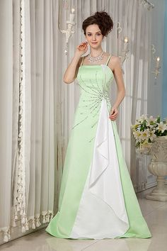 A-Line Spaghetti Satin Floor Length Color Wedding Dress