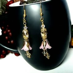 Only $7.75! - SALE Light Topaz Glass Faceted Luster Marquise Beads & Frosted Pink Trumpet Lucite Earrings w/Gold Tulip Cone Caps & Dangling Topaz Glass Bicones - Under $10 Lucite Earrings - FREE USA SHIPPING https://www.etsy.com/listing/448985002/sale-light-topaz-glass-faceted-marquise