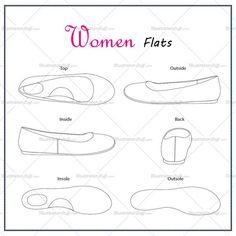 Women's Flat Shoes Fashion Flat Template