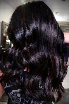 Dark Hair With Highlights, Hair Color For Black Hair, Brown Hair Colors, Dark Cherry Hair Color, Dark Hair With Caramel Highlights, Dark Brunette Hair, Chocolate Brunette Hair, Blonde Hair, Long Dark Hair