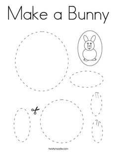 Make a Bunny Coloring Page - Twisty Noodle Bunny Coloring Pages, Cutting Practice, Shapes Worksheets, Kids Prints, Cursive, Noodle, Preschool, Arts And Crafts, Cocktail