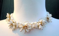 MIRIAM HASKELL RHINESTONES WHITE GLASS BEAD FLOWER NECKLACE