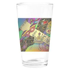 Happy Purim Drinking Glass by Lee Hiller #Judaica