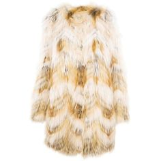 Yves Salmon Coat (£2,815) ❤ liked on Polyvore featuring outerwear, coats, pink fur coats, striped fur coat, yves salomon coat, fox coat and pink coat