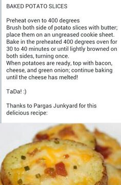Sliced Baked Potatoes with Cheese, Bacon and green onions.