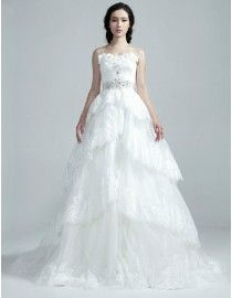 Gorgeous sweetheart lace appliques swarovski beaded wasitline layered a-line sweeping train TB-406