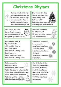 Christmas Rhymes English Rhymes, English Fun, English Language, English Tips, English Lessons, English Grammar, Learn English, Teaching English, English Exercises