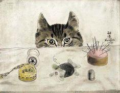 Couturier-Cat-1927-by-Leonard-Tsuguharu-Foujita-French-Japanese-1886-1968.jpg (507×394)