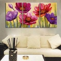 Easy Canvas Painting Ideas | 100% Hand Painted Oil Painting 3 Piece Canvas Art Modern Art Wall Art ... by mae