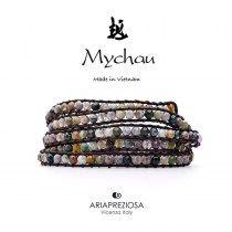 Mychau - Bracciale Vietnam originale realizzato con Agata Muschiata naturale su base bracciale col. Testa di Moro