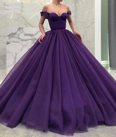 Purple Off Shoulder Ball Gown Quinceanera Dresses Simple Tiered Sweep Train Pleats Sweet 16 Dresses Quinceanera Gowns Custom Long Prom Gowns, Ball Gowns Prom, Ball Dresses, Short Prom, Cheap Gowns, Cheap Prom Dresses, Sexy Dresses, Summer Dresses, Kohls Dresses