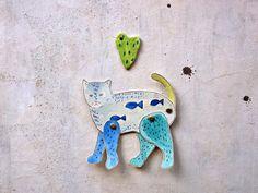 blue articulated paper cat decoration Cat Art original by vumap