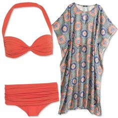 Then you should look for bikini bottoms that offer more coverage. These Norma Kamali briefs ($175 each; net-a-porter.com) have a genius folded waistband that you can adjust to suit your needs. Carry the pretty coral over to your beach kaftan (HM, $35; hm.com).