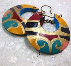 Tribal Earrings  Multi Color Wood Vintage Painted by citydetails
