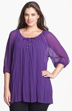 Idea to correct similar blouse I made. Evans Crinkled Peasant Top (Plus Size) available at #Nordstrom