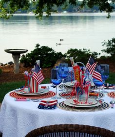 A Reprise of our Independence Day Celebration last year~ complete with a Star-Spangled Menu! A of July Table with simple white dishes and red & blue accents~ where the food and the party fa… 4th Of July Games, Fourth Of July Food, 4th Of July Celebration, 4th Of July Party, July 4th, October 14, Lake Party, Bbq Party, Oreo