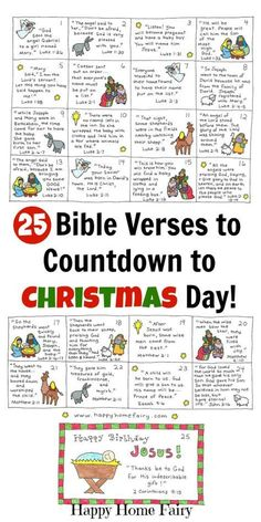 Bible Verse Advent Countdown for Kids - FREE Printable 25 Bible Verses to countd., Verse Advent Countdown for Kids - FREE Printable 25 Bible Verses to countdown to Christmas with kids! Each card is written with a short and simp.