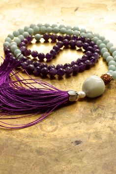 Amethyst mala beads Amazonite mala Purple and by ThePillowBook