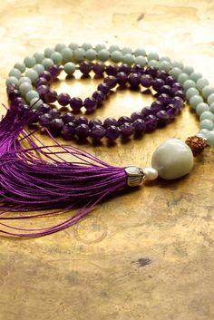 Amethyst mala beads Amazonite mala Purple and by ThePillowBook