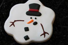 Melted Snowman cookies, snowman cookies, Custom Cookies, Christmas cookies, winter cookies, holiday cookies, Christmas cookie favors
