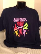 """T-SHIRT, FRUIT OF THE LOOM, 2XL,MEN'S, NAVY, """"BEHIND EVERY GREAT LAB IS ..."""